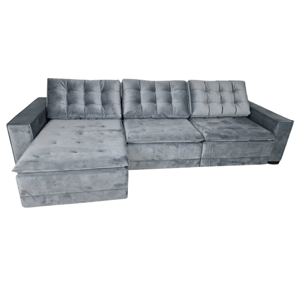 Sofá Retrátil  e Reclinável 320cm Yatch - Veludo Cinza