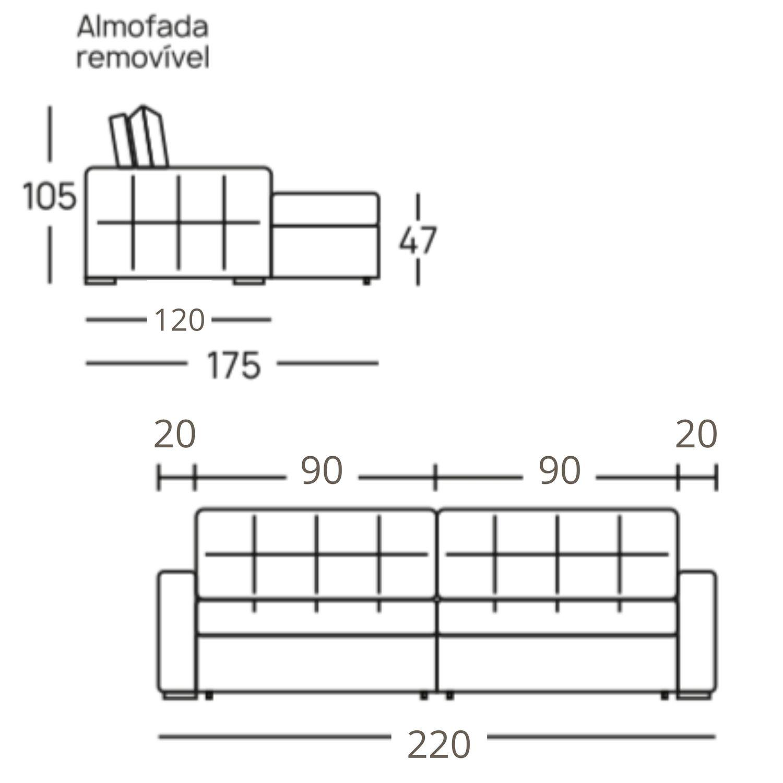 Sofá Retrátil e Reclinável 220 cm Harus - Suede Cinza Chumbo