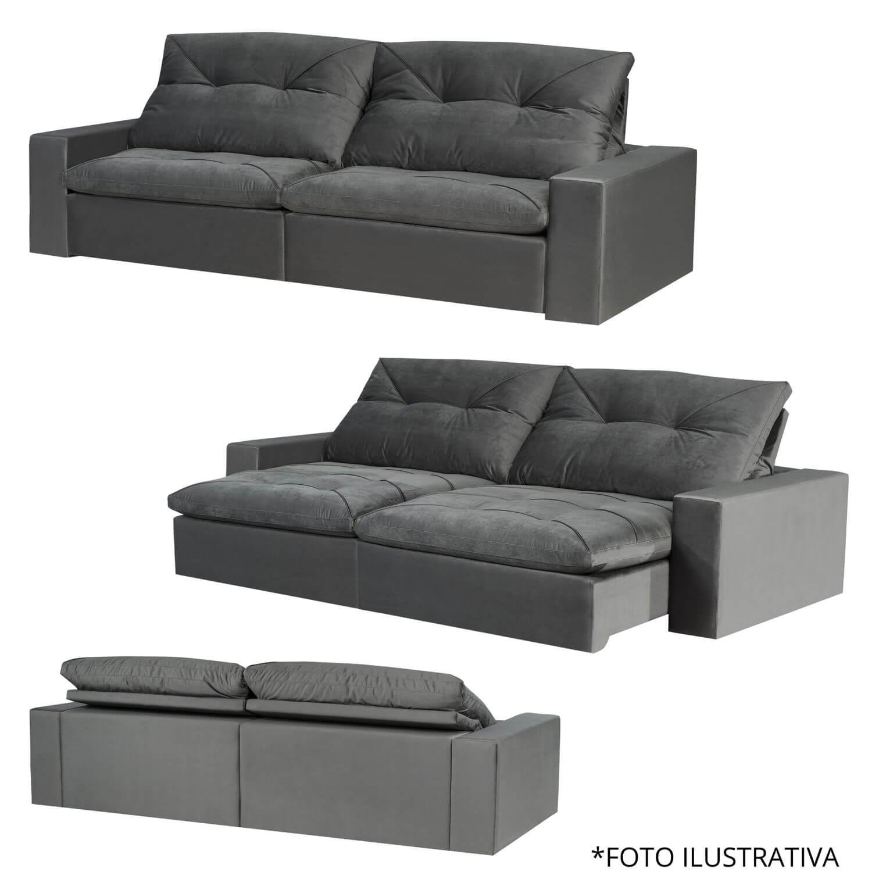 Sofá Retrátil e Reclinável 230cm Córdoba - Suede Cinza