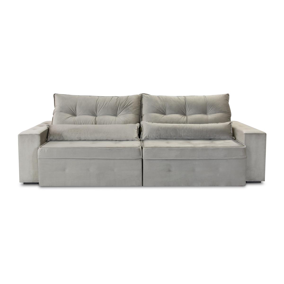 Sofá Retrátil e Reclinável 250cm Niaga Cinza  - Formato Móveis e Decorações