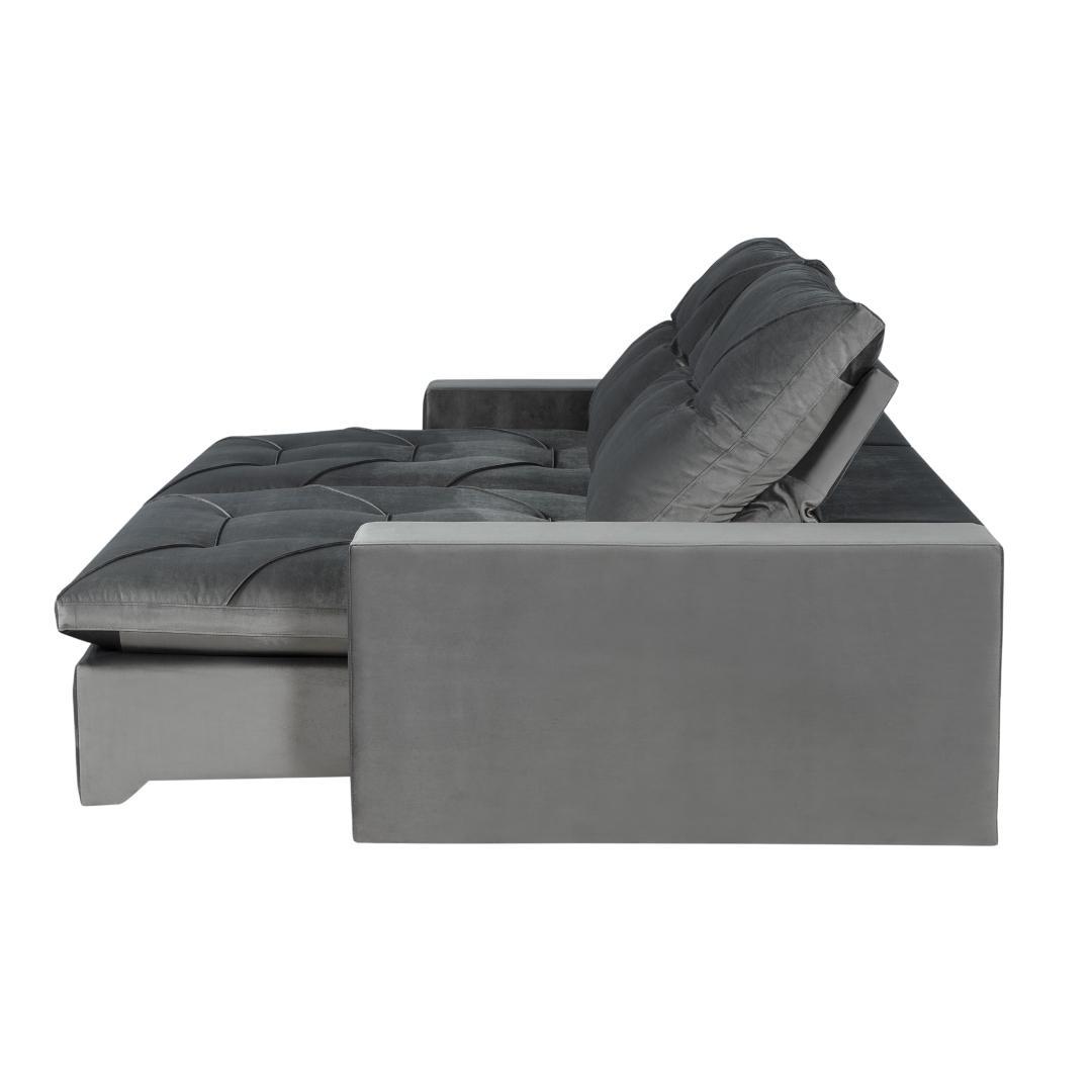 Sofá Retrátil e Reclinável 270cm Córdoba - Cinza