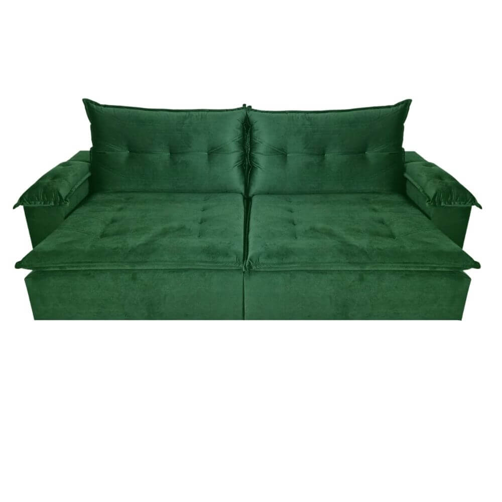 Sofá Retrátil e Reclinável 250cm Minas Veludo Verde