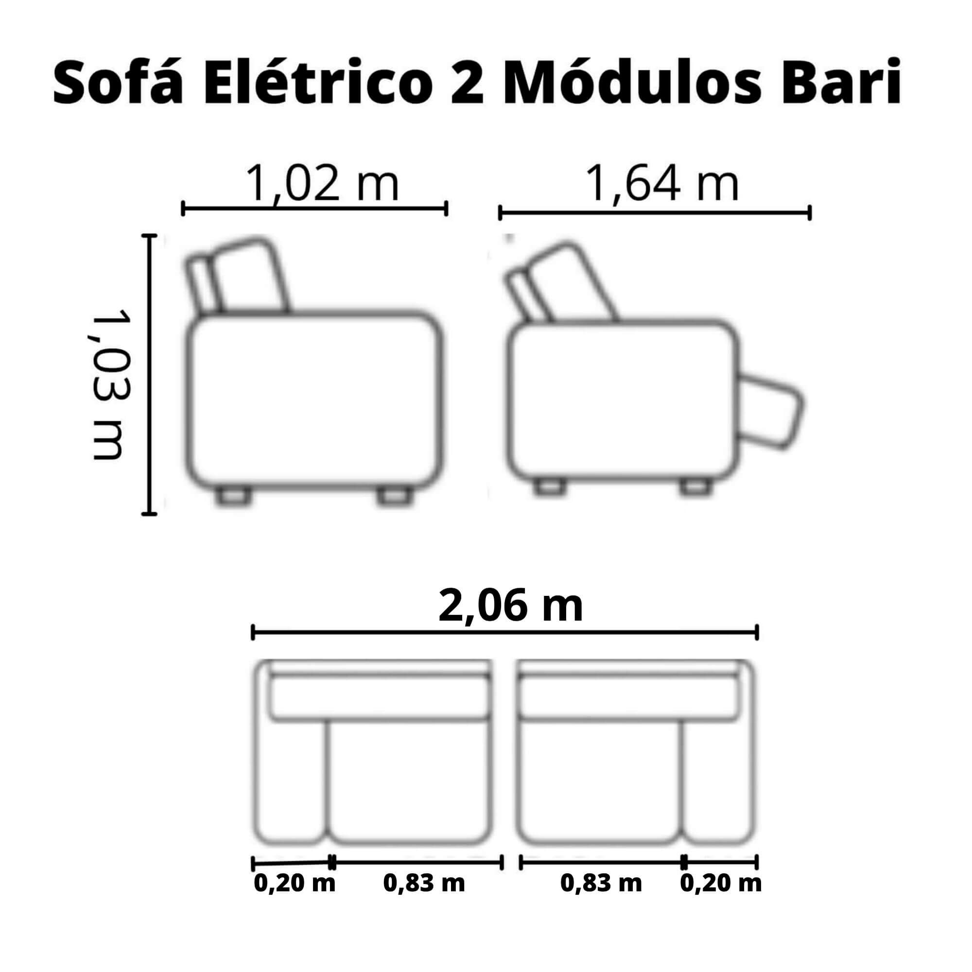 Sofá Retrátil Elétrico de Couro 206cm - Bari Preto
