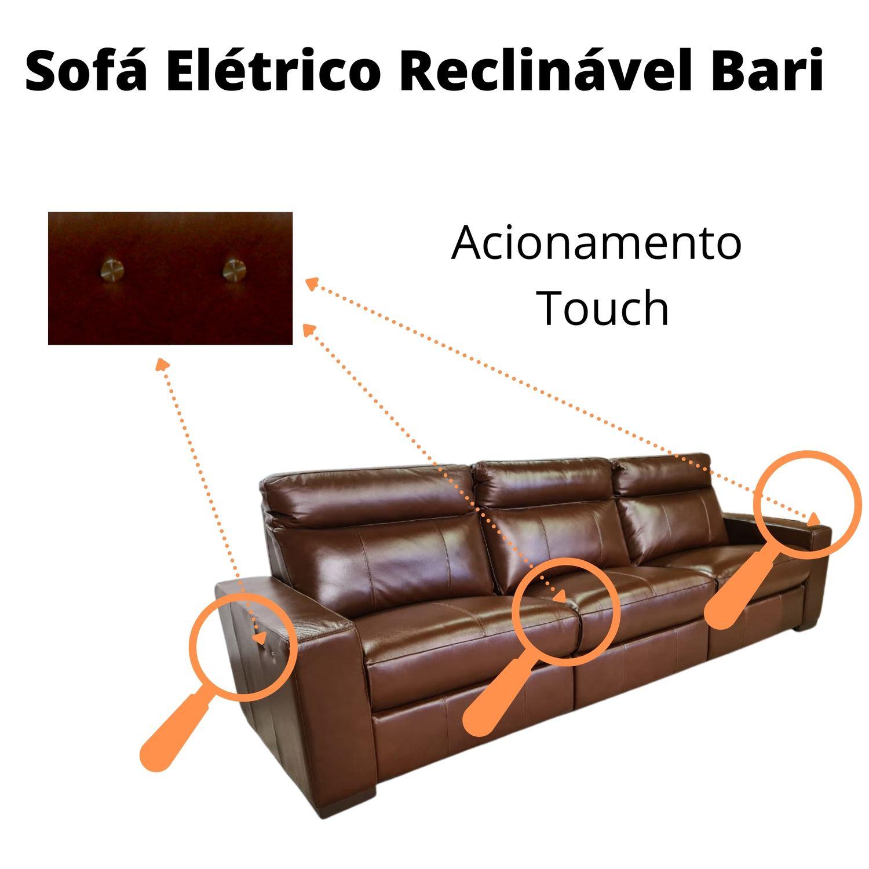 Sofá Retrátil Elétrico de Couro 216cm - Bari Caramelo