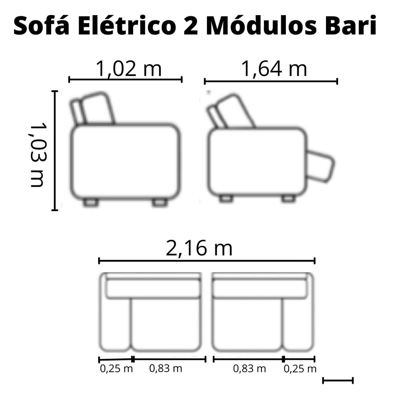Sofá Retrátil Elétrico de Couro 216cm - Bari Grey Light