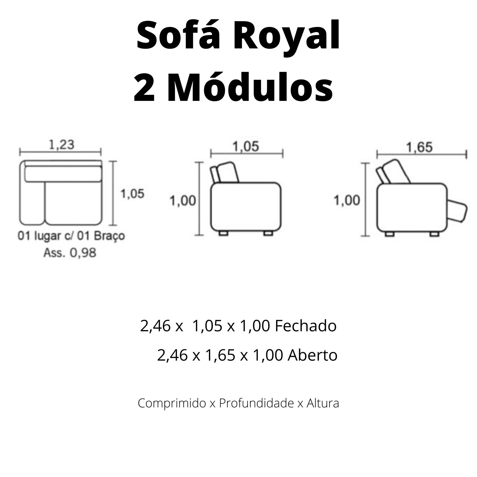 Sofá Retrátil Elétrico de Couro 246cm - Royal Pronta Entrega  - Formato Móveis e Decorações