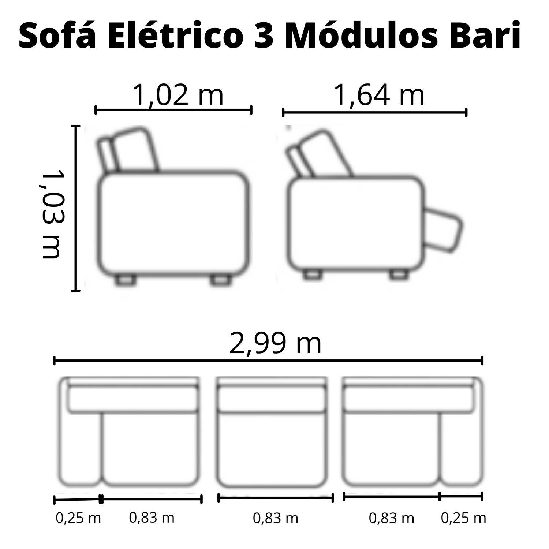 Sofá Retrátil Elétrico de Couro 299cm - Bari Grey Light