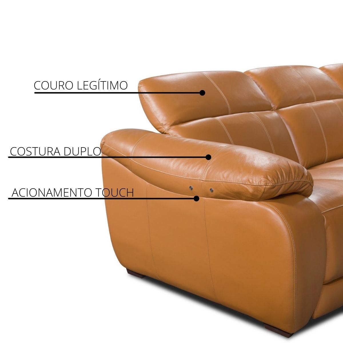 Sofá Retrátil Elétrico de Couro 299cm - Royal Pronta Entrega  - Formato Móveis e Decorações