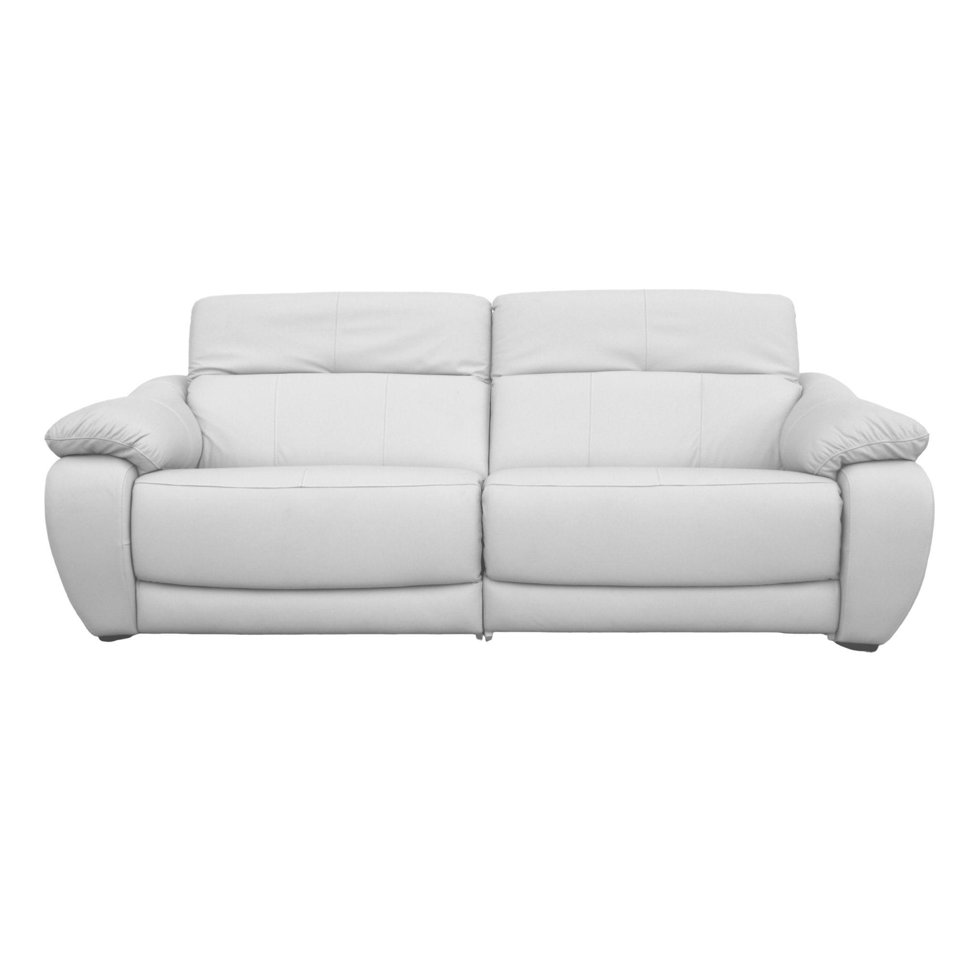 Image of: Sofa Retratil Eletrico De Couro 2 Lugares 176cm Royal Branco Formato Moveis