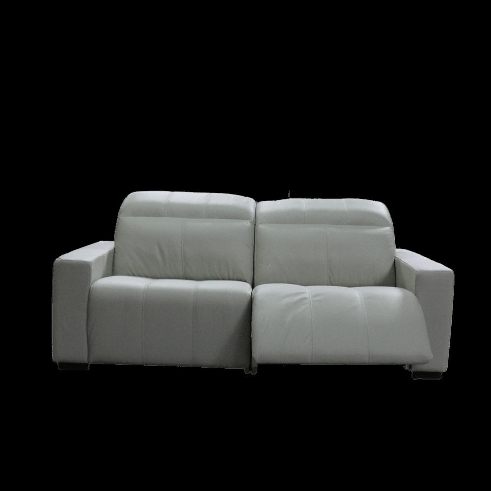 Sofá Retrátil Elétrico de Couro 2 Módulos 236cm - Cronos Off White