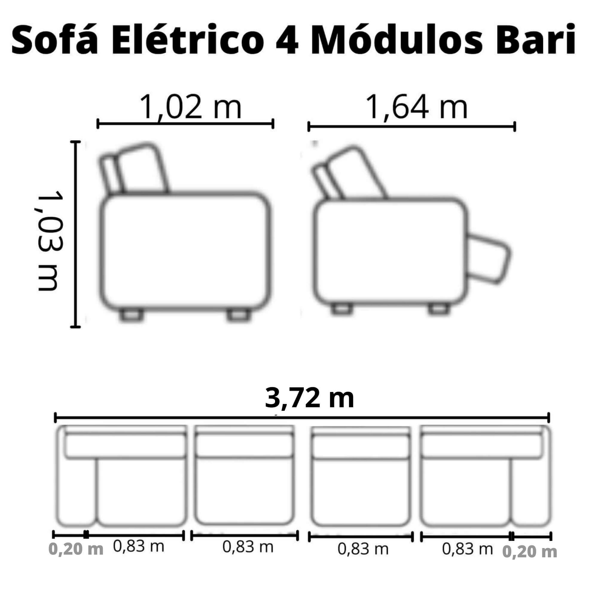 Sofá Retrátil Elétrico de Couro 372cm - Bari Grey Light