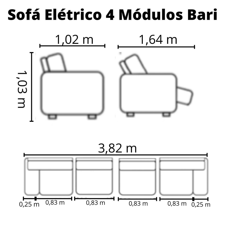 Sofá Retrátil Elétrico de Couro 382cm - Bari Grey Light