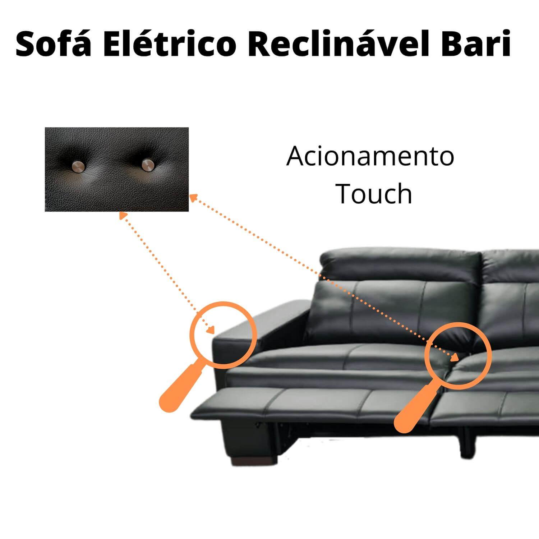 Sofá Retrátil Elétrico de Couro 372cm - Bari Preto