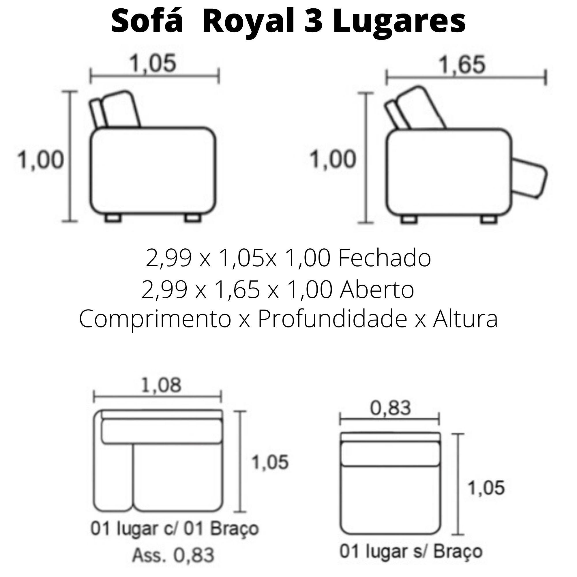 Sofá Retrátil Elétrico de Couro 299cm - Royal Branco