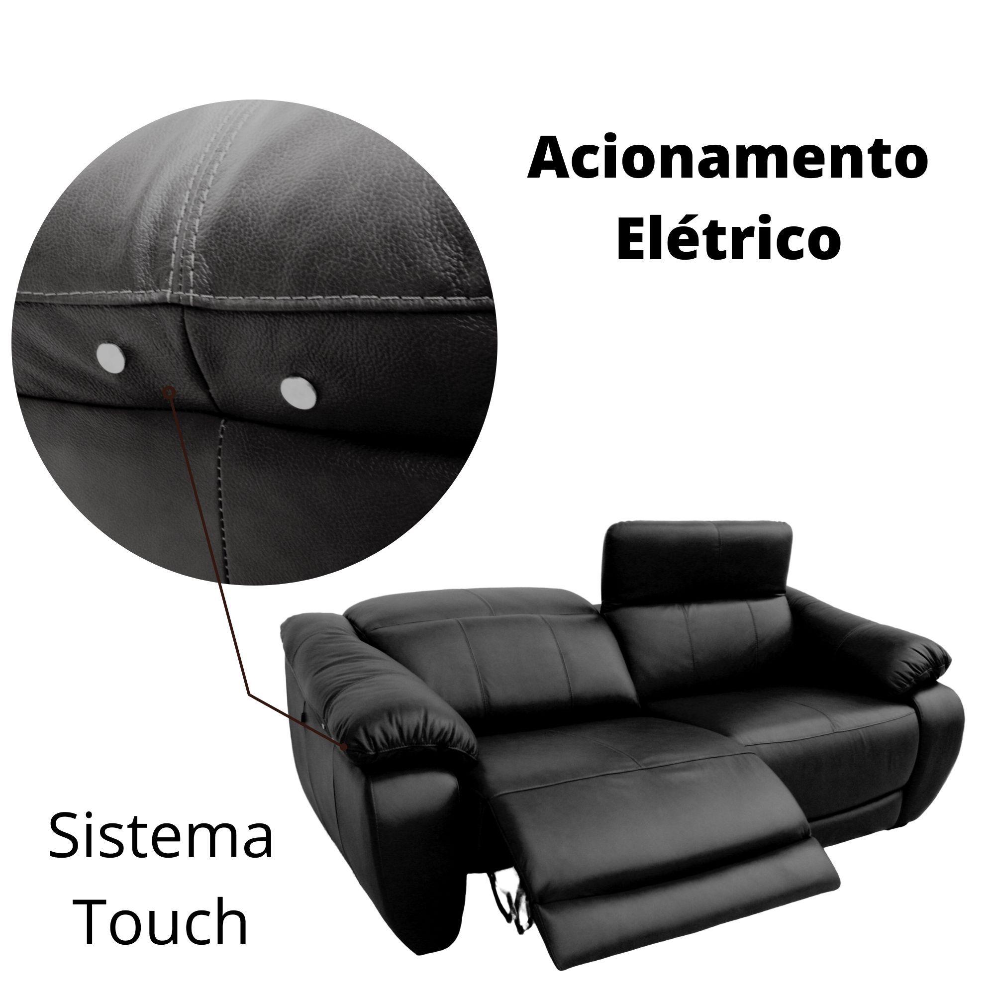 Sofá Retrátil Elétrico de Couro 3 Lugares 344 cm - Royal Negro