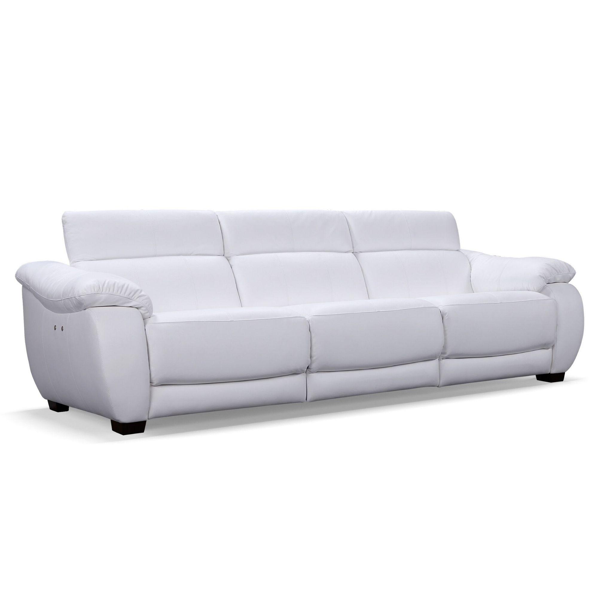 Sofá Retrátil Elétrico de Couro 3 Lugares 299cm - Royal Off White