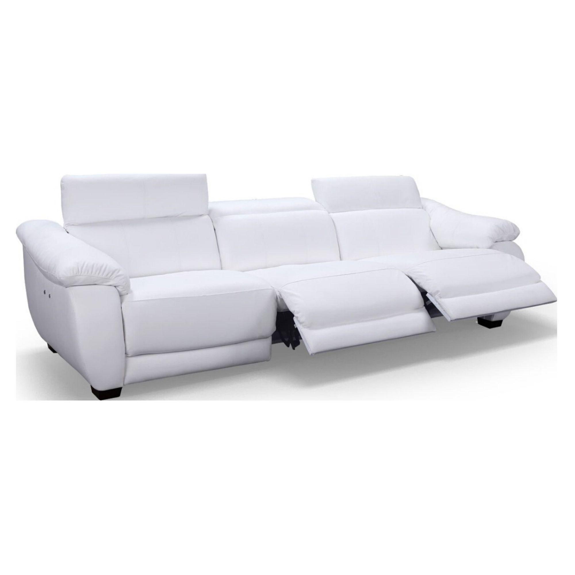Sofá Retrátil Elétrico de Couro 3 Lugares 344 cm - Royal Branco