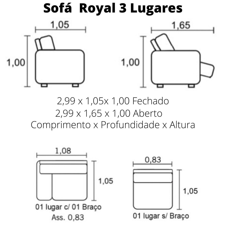 Sofá Retrátil Elétrico de Couro 3 Lugares 299cm - Royal Caramelo
