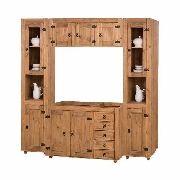 Cozinha Compacta Rústica - 4 Modulos -  Madeira Maciça - Cera Mel