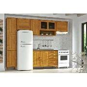 Cozinha Compacta Jade - Madeira Maciça - 5 Módulos - Cor Nogueira