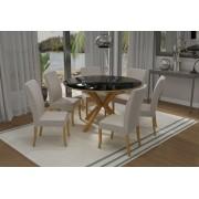 Conjunto Mesa de Jantar Atenas Redonda (140cm) Vidro Preto - 6 Cadeiras Isa - Cor Avelã