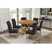 Conjunto Mesa de Jantar Atenas Redonda (140cm) Tampo de Madeira - 6 Cadeiras Isa - Cor Avelã