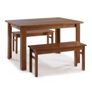 Conjunto Mesa de Jantar Cali (80 x 160cm) - 2 Bancos - Madeira Maciça