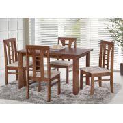 Conjunto Mesa de Jantar Cali (120 cm) com 4 Cadeiras Olinda II  - Madeira Maciça