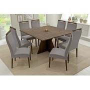 Conjunto Mesa de Jantar Elis Quadrada (140cm) Tampo de Madeira - 8 Cadeiras Karina - Cor Imbuia
