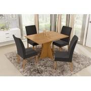 Conjunto Mesa de Jantar Elis Retangular (120cm) Tampo de Madeira - 4 Cadeiras Isa - Cor Avelã
