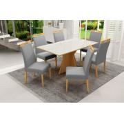 Conjunto Mesa de Jantar Elis Retangular (160cm) Tampo de Vidro - 6 Cadeiras Camila - Cor Avelã