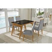 Conjunto Mesa de Jantar Extensível (160 a 200cm) Tampo de Vidro - 4 Cadeiras Karina - Cor Avelã
