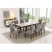 Conjunto Mesa de Jantar Extensível (160 a 200cm) Tampo de Vidro - 8 Cadeiras Camila - Cor Imbuia
