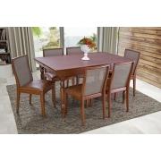 Conjunto Mesa de Jantar Extensível (75 - 153cm) Tampo de Madeira -  6 Cadeiras Arizona - Castanho