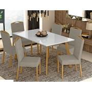 Conjunto Mesa de Jantar Melissa Tamanho (160cm) Tampo de Vidro com 6 Cadeiras - Avelã