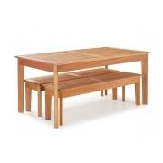 Conjunto Mesa de Jantar Primavera com 2 Bancos - Tamanho (160cm) - Madeira de Eucalipto