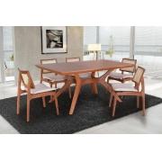 Conjunto Mesa de Jantar Ravena (180cm) Tampo de Madeira -  6 Cadeiras Amsterdã - Amendoa