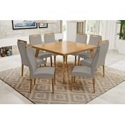 Conjunto Mesa de Jantar Aline Quadrada (140cm) - Tampo de Madeira - 8 Cadeiras Karina - Avelã
