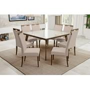 Conjunto Mesa Jantar Aline Quadrada (140cm) - Tampo de Vidro - 8 Cadeiras Camila - Imbuia