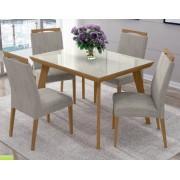 Conjunto Mesa de Jantar Aline Retangular (120cm) Tampo Vidro - 4 Cadeiras Betina - Avelã
