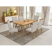 Conjunto Mesa de Jantar Aline Retangular (160cm) - Tampo Madeira - 6 Cadeiras Camila - Avelã
