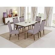 Conjunto Mesa de Jantar Aline Retangular (160cm) Tampo Vidro - 6 Cadeiras Camila - Imbuia
