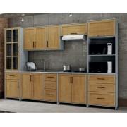 Cozinha Compacta Cristal com 6 Módulos - Madeira Maciça -  Cinza/Carvalho