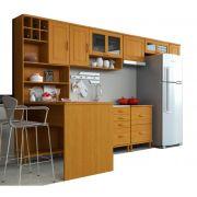 Cozinha Compacta Jade - 7 Módulos - Madeira Maciça - Cor Nogueira