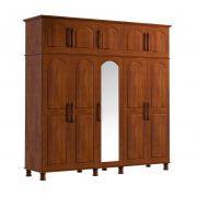 Guarda Roupa de Casal Bipartido - 10 Portas - 2 Gavetas - Cor Imbuia