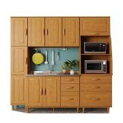 Kit Cozinha Compacta Jade com 4 Módulos - Madeira Maciça -  Cor Nogueira