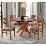Conjunto Mesa de Jantar Bali Redonda (120cm) - 4 Cadeiras - Tampo de Madeira