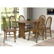 Mesa de Jantar Hannover Tamanho (85,5 x 1,35) com 6 Cadeiras  - Cor Castanho