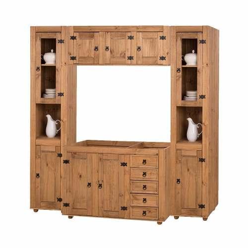 Cozinha Compacta Rústica com 4 Modulos -  Madeira Maciça - Cera Mel