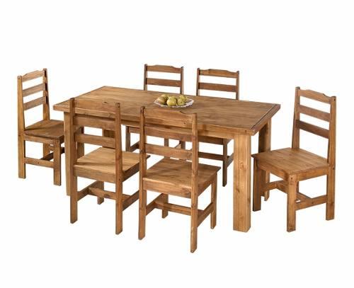 Mesa Classic Rústica, Tamanho (160 X 80cm) com 6 Cadeiras - Madeira Maciça